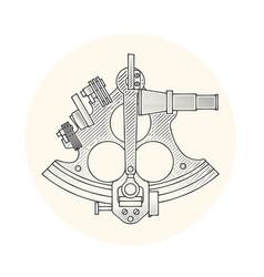 Sextant - ancient navigation astrolabe vintage vector