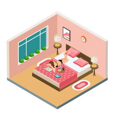sexy girl reading book drinking wine in bedroom vector image
