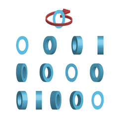 Sheet of sprites rotation of cartoon 3d letter o vector