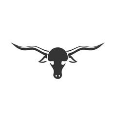 Silhouette longhorn-animal vector