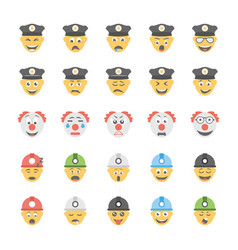 smiley flat icons set 25 vector image
