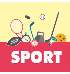 sport concept sports equipment yellow background v vector image