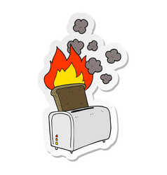 Sticker a cartoon burnt toast vector
