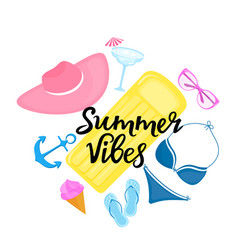 summer vibes hand drawn lettering swimsuit vector image