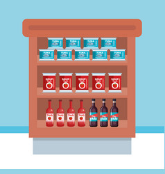 Supermarket shelving with products vector