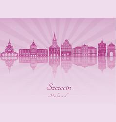 szczecin skyline in purple radiant orchid vector image