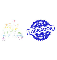 Textured labrador seal and multicolored geometric vector