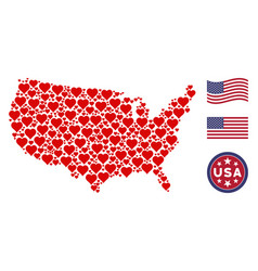 Usa map collage of valentine heart vector
