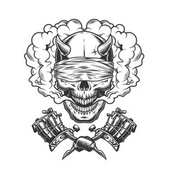 vintage monochrome demon skull with blindfold vector image
