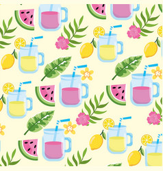 Watermelon juice and lemonade with leaves vector