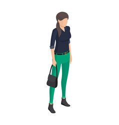 Woman in green trousers black blouse belt sack vector
