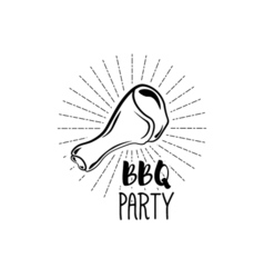 BBQ Party Badge Chicken grill label isolated on vector image