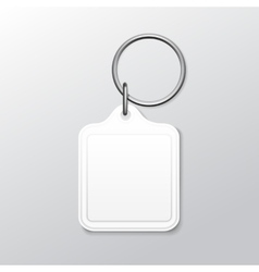 Blank square keychain with ring and chain for key vector