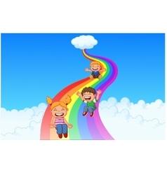 Cartoon little kids playing slide rainbow vector image vector image