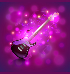 Electric guitar on glowing background vector image