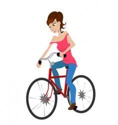 girl riding a bicycle vector image vector image