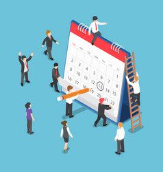 isometric business people scheduling operation on vector image