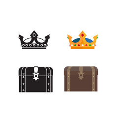 medieval icons of chest and crown vector image