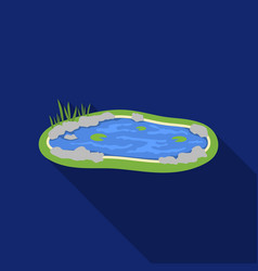 pond icon in flat style isolated on white vector image vector image