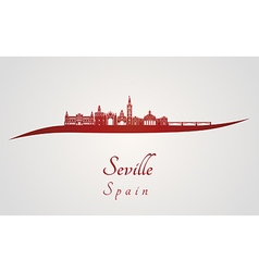 Seville skyline in red vector image vector image