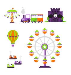 carousels amusement attraction park side-show kids vector image
