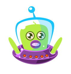 Confused and surprised green aliens in a flying vector