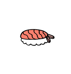 doodle icon sushi asian food vector image