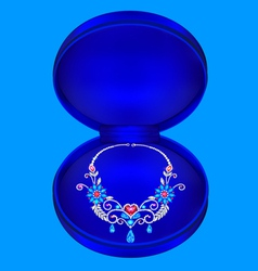 Female necklaces with precious stones vector
