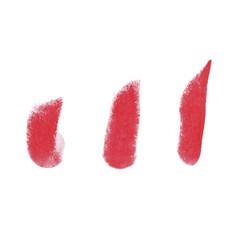 Lipstick grunge brush stroke set vector