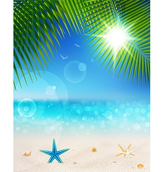 seascape and palm leaves2 vector image vector image