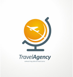 travel agency logo design idea vector image vector image