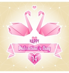 Valentine card origami swan paper cranes vector image