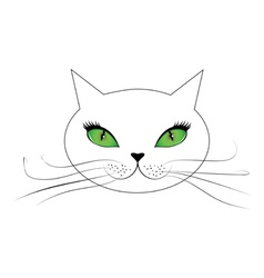 White cat face with green eyes vector image vector image