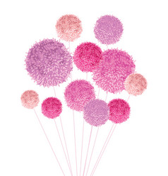 bouquet of pom poms baby girl pink vector image vector image