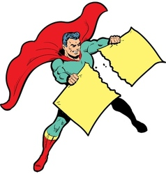 Classic superhero ripping paper or sign in half vector image vector image