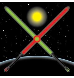 lightsabres in space vector image