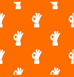 ok gesture pattern seamless vector image vector image
