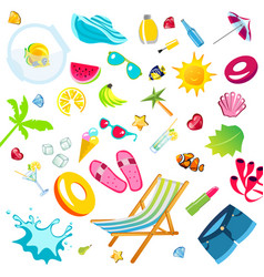summer vacation accessories flat icons set vector image vector image