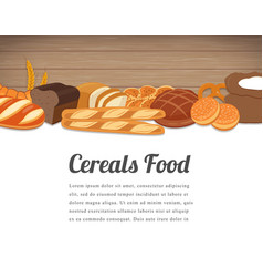 cereals food card design food background with vector image vector image