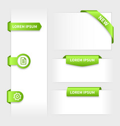 Collection of glossy rounded green 3d stickers on vector image vector image