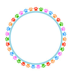 colored paws frame vector image vector image