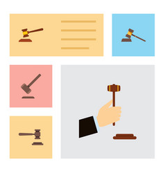 flat icon court set of law hammer legal and vector image vector image