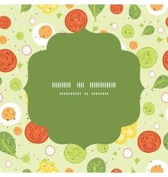 fresh salad circle frame seamless pattern vector image vector image