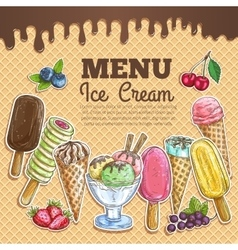 Ice cream menu color sketch on wafer background vector image