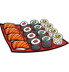 sushi lunch cartoon vector image