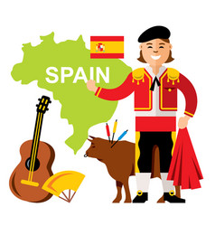 travel concept spain flat style colorful vector image vector image