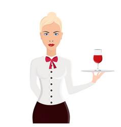 waitress portrait isolated on white background vector image