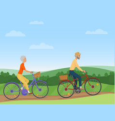 a senior couple riding the bikes in the vector image