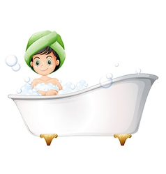 A young lady taking a bath vector image