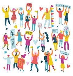 Active people parade colored set vector